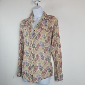 Ariat Western Style Fitted Shimmer Flower Blouse